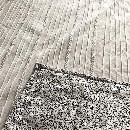 White Lace Pintuck + Floral  Wholecloth Quilt