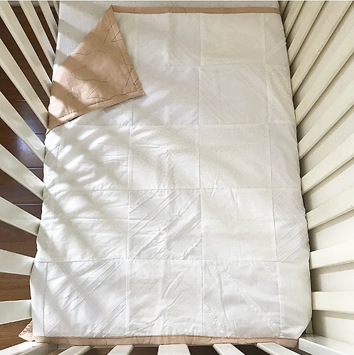 Winter Wonder All White Patchwork Quilt (feat. Blush Embossed backing)