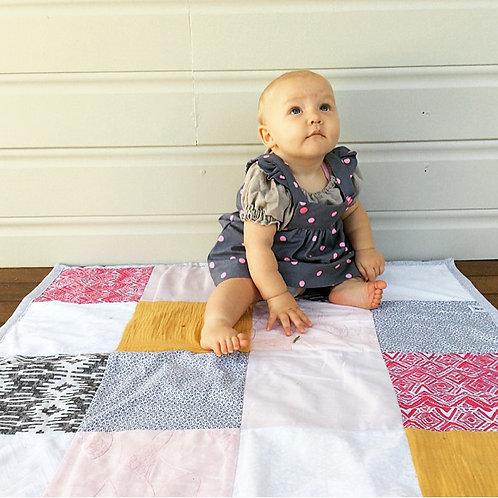 'Aztec' Pink, Blush & Mustard Patchwork Quilt