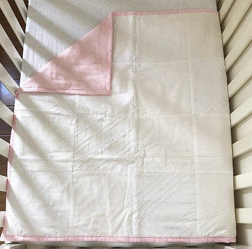 Winter Wonder All White Patchwork Quilt (feat. Soft Pink Embossed backing)