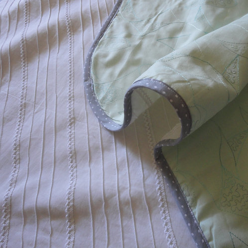 Mint Embossed & Pintuck Wholecloth Quilt