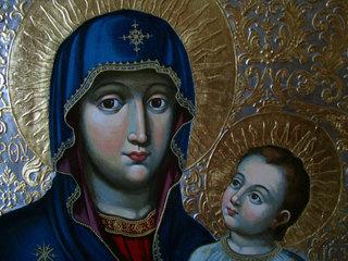 """Фрагмент иконы """"Богородица с Младенцем"""" (копия с иконы Кондзелевича)"""