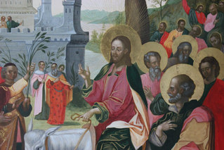 """Fragment of the icon """"The Entry into Jerusalem"""""""