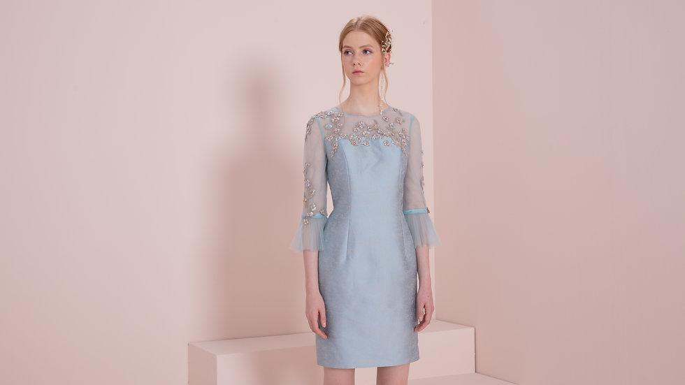 素色提花直身连衣裙