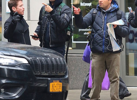 Leonardo DiCaprio helping a tourist with directions in New York City