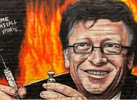 Anti-Bill Gates Mural in Melbourne as crowds chant 'Arrest Bill Gates'