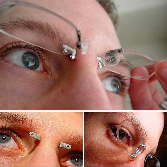 Bridge piercing begins to be used for frameless glasses