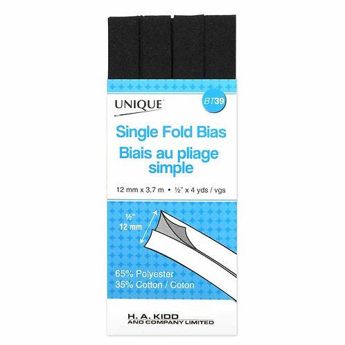 Black Single Fold Bias Tape