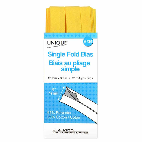 Canary Single Fold Bias Tape