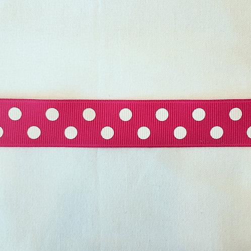 "Grosgrain Ribbon - Hot Pink w/ White Dots 7/8"" wide - 1 Yard"