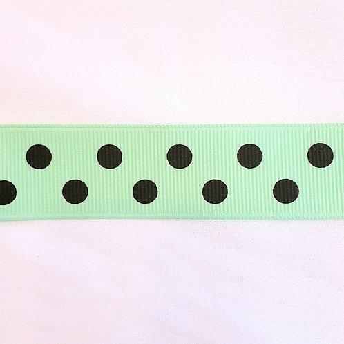 Grosgrain Ribbon - Mint w/ Black Dots - 1 Yard - 4 Widths