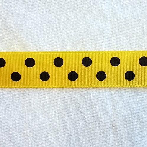 Grosgrain Ribbon - Yellow Black Dots - 1 Yard - 3 Widths