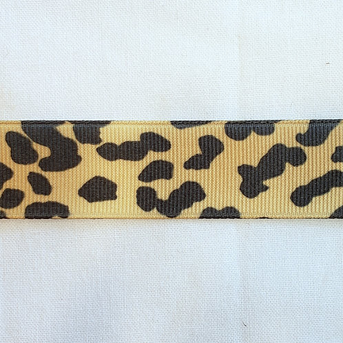 Grosgrain Ribbon - Yellow Animal Print - 1 Yard - 1 Width