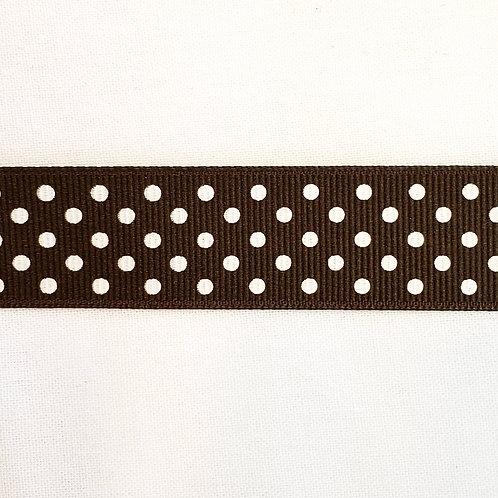 Grosgrain Ribbon - Brown w/ Small White Dots - 1 Yard - 4 Widths