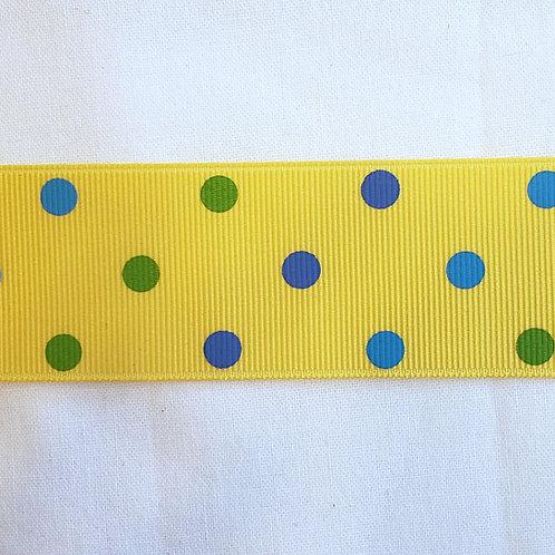 Grosgrain Ribbon - Yellow w/ Blue & Green Dots - 1 Yard - 1 Width