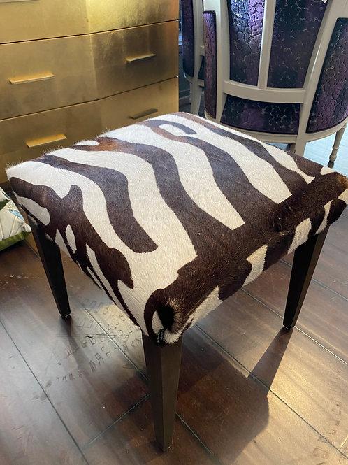 Cowhide Zebra-Print ottoman