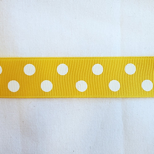 "Grosgrain Ribbon - Yellow White Dots - 5/8"", 1 yard"