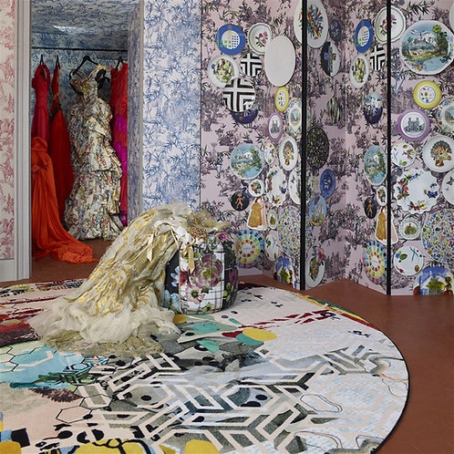 Grand Tour- Tomette Round Rug- By Christian Lacroix