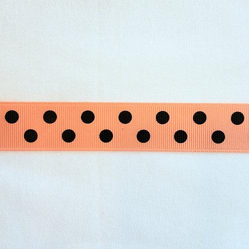 Grosgrain Ribbon - Light Orange Black Dots - 1 Yard - 4 Widths