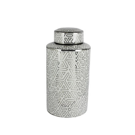 Geometric Silver & White tall jar