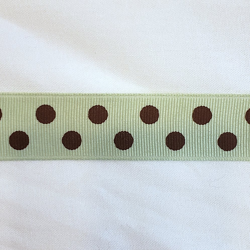 Grosgrain Ribbon - Sage w/ Brown Dots - 1 Yard - 3 Widths