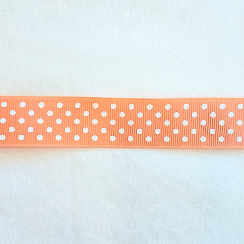 Grosgrain Ribbon - Light Orange Small White Dots - 1 Yard - 4 Widths