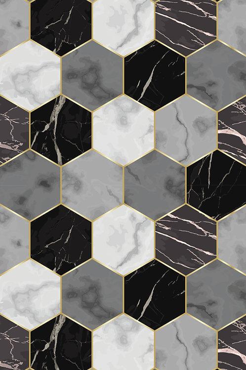 Marble Hexagon - G&B&W