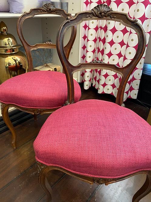Vintage Fuchsia Louis XVI side chairs
