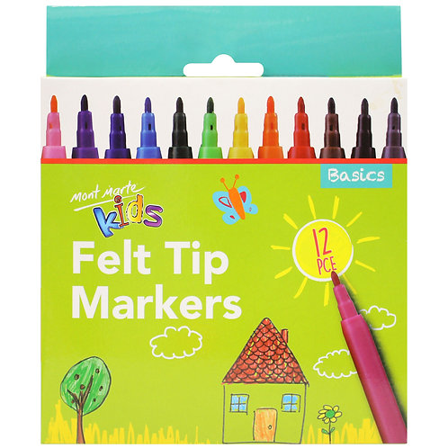 Felt Tip Markers -- 12 Pieces