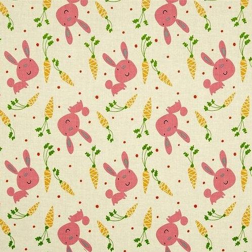 Bunny & Carrots - Pink by David Walker