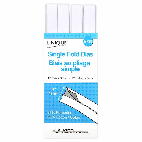 White Single Fold Bias Tape