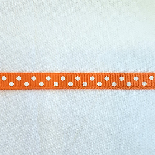 Grosgrain Ribbon - Orange Small White Dots - 1 Yard - 1 Width