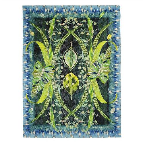 Arjuna Leaf teal throw blanket