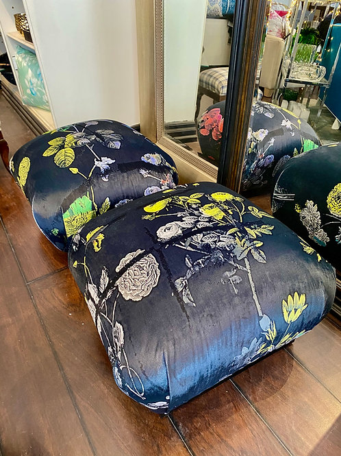 Printed velvet footstool set