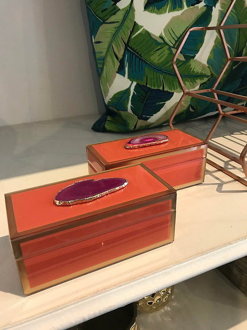 Orange Glass keepsake with Agate stone...