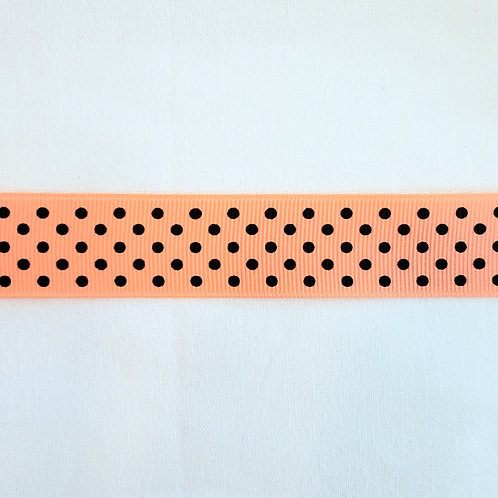 Grosgrain Ribbon - Light Orange Small Black Dots - 1 Yard - 4 Widths