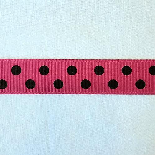 Grosgrain Ribbon - Hot Pink w/ Black Dots - 1 Yard - 4  Widths
