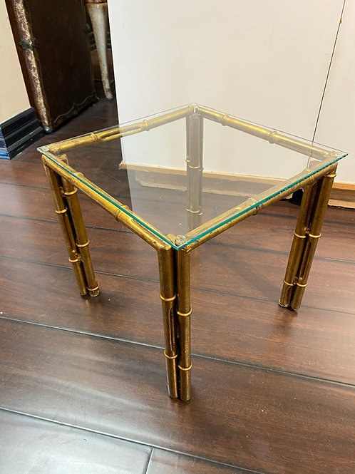 Gilt Metal Faux Bamboo side table