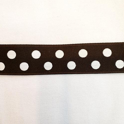 Grosgrain Ribbon - Brown w/ White Dots - 1 Yard - 4 Widths