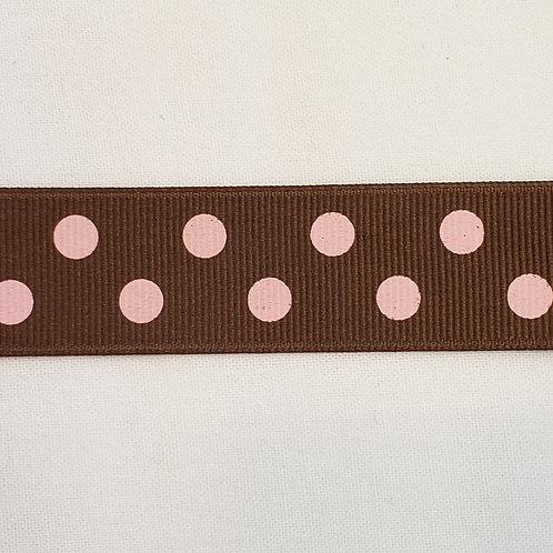 Grosgrain Ribbon - Brown w/ Pink Dots - 1 Yard - 4 Widths