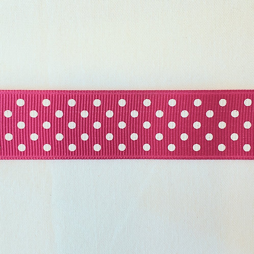 Grosgrain Ribbon - Hot Pink w/ Small White Dots - 1 Yard - 4  Widths