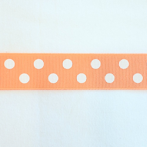 Grosgrain Ribbon - Light Orange White Dots - 1 Yard - 4 Widths