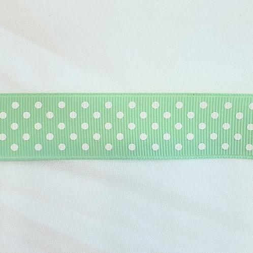 Grosgrain Ribbon - Mint w/ Small White Dots - 1 Yard - 3  Widths