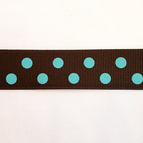 Grosgrain Ribbon - Brown w/ Blue Dots - 1 Yard - 4 Widths