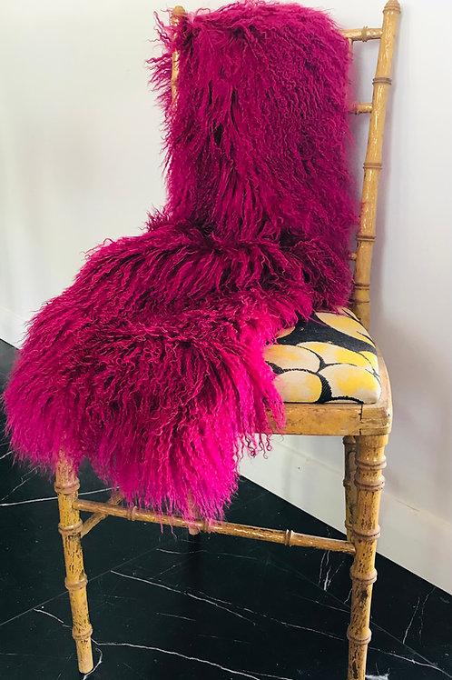 MONGOLIA LAMB THROW- Fantastic hot pink..