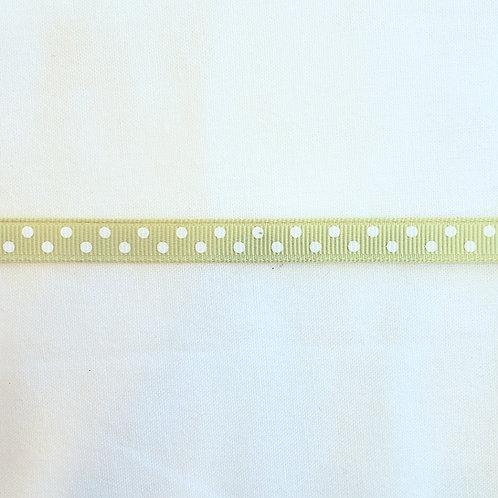 Grosgrain Ribbon - Celadon w/ Small White Dots - 1 Yard - 1  Width