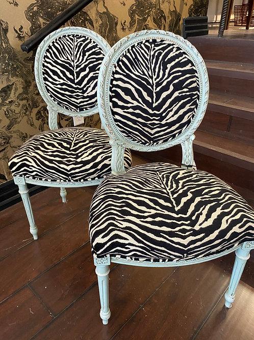 Vintage Zebra side chairs