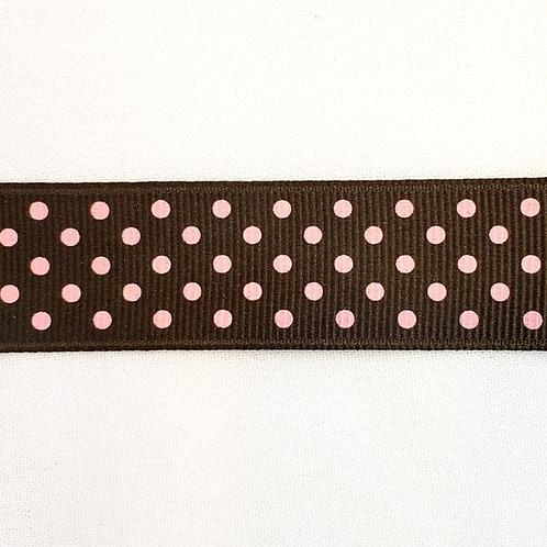 Grosgrain Ribbon - Brown w/ Small Pink Dots - 1 Yard - 4 Widths