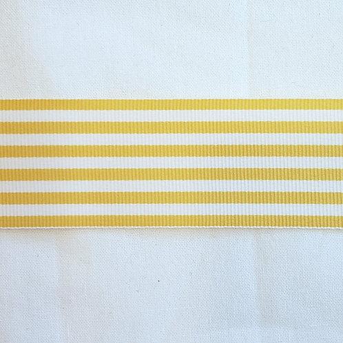 Grosgrain Ribbon - Yellow Stripes - 1 Yard - 1 Width