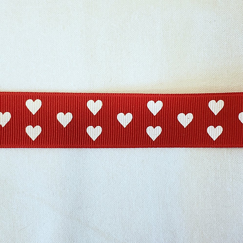 Grosgrain Ribbon - Red w/ White Hearts - 1 Yard - 2  Widths